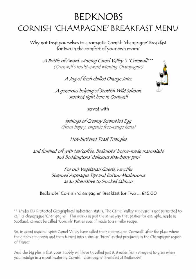Bedknobs Champagne Breakfast Menu